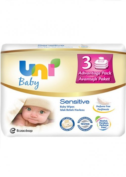 Uni Wipes Sensitive Islak Havlu 3'lü Avantajlı Paket